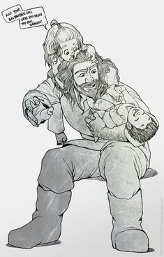 Fili and Kili playing with their uncle Thorin