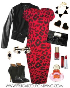Frugal Fashion Friday Valentine's Day Look and Red Dress - Red Cheetah Dress, Black Leather Jacket, Clutch, and Jewelry for your Valentine's Fashionista Look. Outfits for Valentine's Day.