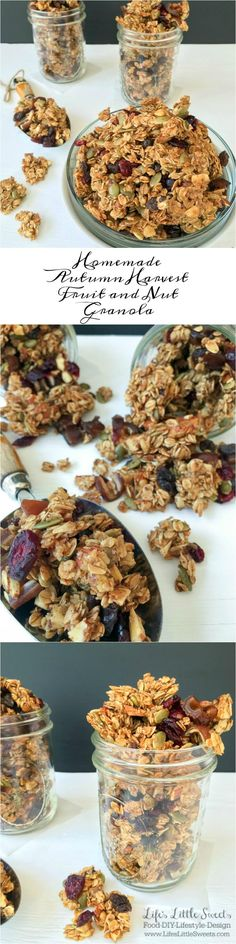 This Homemade Autumn Harvest Fruit and Nut Granola has cinnamon and warm…