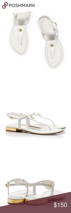 Tory Burch Britton Thong Sandal in White Leather Excellent Used Condition. Size:8 True to Size. 100% LEATHER. Gold hardware and detailing. Tory Burch Shoes Sandals
