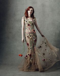 Illusion Neckline Floral Embroidered Gown by MARCHESA for Preorder on Moda Operandi Couture Mode, Couture Fashion, Fashion Show, Spring Fashion, Beautiful Gowns, Beautiful Outfits, Fashion Vestidos, Floral Gown, Shower Dresses