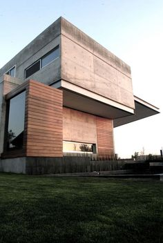 sharp. concrete and wood