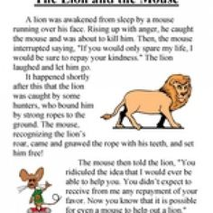 The Lion and the Mouse – Third Grade Reading Comprehension Test: Use the information in the story to answer the 5 comprehension questions. Answer Key Is Included. Test Type: Fable Grade Level: Third Grade The Lion and the Mouse English Stories For Kids, Short Stories For Kids, English Story, First Grade Reading Comprehension, Third Grade Reading, Picture Comprehension, Reading Test, Phonics Reading, Reading Skills