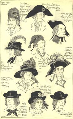 French Men Hats, 1789-1795