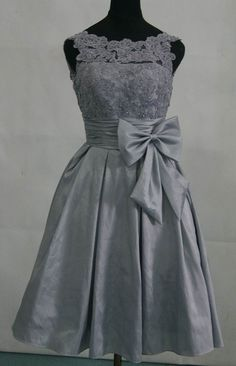 Taffeta silver grey bridesmaid dress prom dress with top lace embalished waist with bow  knee length gown via Etsy