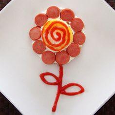 Huevo frito en forma de flor
