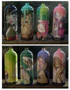 custom spray cans by phresha-- love her artwork