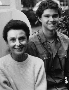 *-*    Audrey Hepburn with her son, Luca Dotti, at Connie Wald's house in Beverly Hills photographed by Camilla McGrath, 1985.