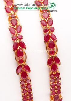 Totaram Jewelers: Buy 22 karat Gold jewelry & Diamond jewellery from India: 22K Gold Ruby Bangle - Set of 2(1 Pair).