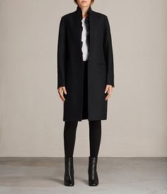 AllSaints - Womens Mae Ruffle Coat (Black)