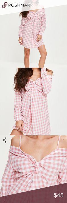 Missguided- Pink Gingham Cold Shoulder Shift Dress Missguided- Pink Gingham Cold Shoulder Shift Dress- never worn!! Missguided Dresses