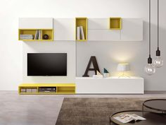Sectional lacquered modular storage wall SPAZIO S436 by PIANCA