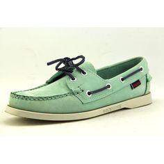 Sebago Dockside Mens Size 8 Green Wide Boat Leather Boat Shoes Used #Sebago #BoatShoes