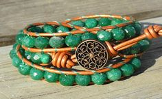 Pretty green aventurine wrap bracelet from GemOnAWire at ArtFire.com. I love how the almost copper color of the leather makes the green come out so nicely.