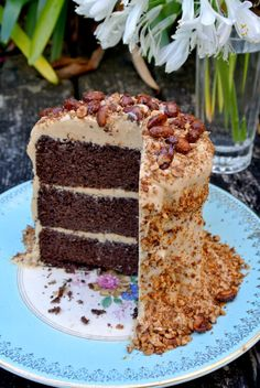 Vegan chocolate cake with peanut butter frosting!