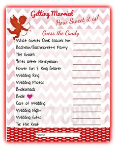 Guess the Candy Game Bridal Shower -Valentines Day Bridal Shower Wedding Shower Games, Wedding Showers, Wedding Games, Wedding Ideas, Sister Shower, Candy Games, Wedding Costs, Advice Cards, Wedding Night