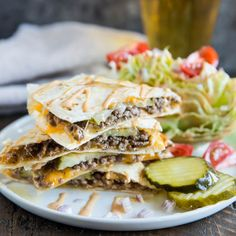 These quick and tasty Cheeseburger Quesadillas are so easy to make! Serve with a crispy wedge salad on the side and lots of special sauce for a full meal.