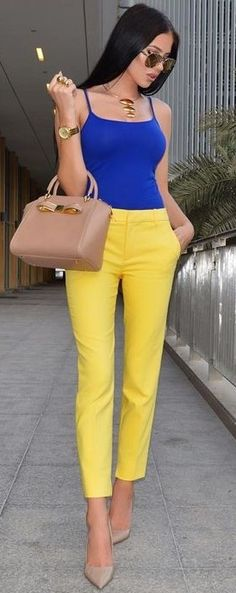 Klein Blue Bodysuit + yellow Pants                                                                             Source