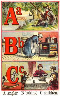 (ABC) wuld of never of thought of those things win I was a kid.crazy how things change n cum more simplified Alphabet Cards, Alphabet Book, Vintage Children's Books, Vintage Ideas, Vintage Postcards, Vintage School, Children's Book Illustration, Book Illustrations, Vintage Lettering
