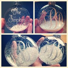 Handmade large plastic flat disc ornaments. Can be personalized To your preference with family last names, babies first Christmas, or southern monograms! Ornaments are $6 +$2 shipping paypal only message thedeltabelle@gmail.com for more information or to order!