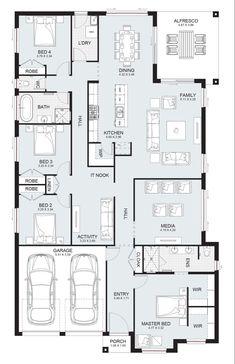 Sierra 29 - Single Level - Floorplan by Kurmond Homes - New Home Builders Sydney NSW House Layout Plans, Best House Plans, Dream House Plans, Small House Plans, House Layouts, House Floor Plans, Sims House Design, 4 Bedroom House Plans, Home Design Floor Plans
