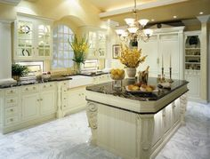 Elegant marble flooring sets off this traditional kitchen (Diannelorraine)