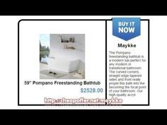 """http://cheapoffer.net/maykke, 59"""" Pompano Freestanding Bathtub, The Pompano freestanding bathtub is a modern tub perfect for any modern or transitional bathroom. The curved corners, straight edge tapered sides and front really propel this bath into the becoming the focal point of your bathroom."""