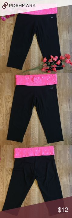 PINK Victoria's Secret Sequin Yoga Capris Super cute! Pink foldover with pink sequins that make a cheetah pattern. Used but tons of life left! Please feel free to ask any questions that you may have :) PINK Victoria's Secret Pants Capris