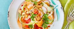 Celebrate National Vegetarian Week with these meat-free recipes: Pad Thai veg ribbon salad Food N, Food And Drink, Vegan Meals, Vegan Recipes, Asda Recipes, Onion Sprouts, Healthy Options, Quick Meals, Fresh Rolls