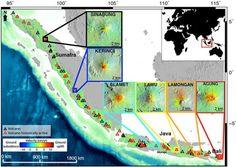"""""""Científicos descubren método para pronosticar erupciones volcánicas""""   Mediante fotografías satelitales, los expertos descubrieron que los volcanes """"se inflan"""" producto de la acumulación de magma, antes de hacer erupción. (LA TERCERA). 7 NOV 2012."""