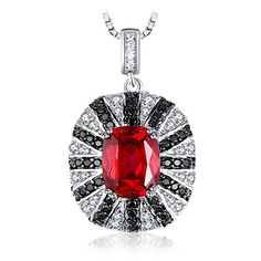 Jewelrypalace Luxury Created Red Ruby Natural Black Spinel Solid 925 Sterling Silver Pendant Charm Vintage Jewelry No Chain Ruby Pendant, Pendant Necklace, Pendant Jewelry, Fine Jewelry, Women Jewelry, Black Spinel, Sterling Silver Necklaces, Fashion Necklace, Vintage Jewelry