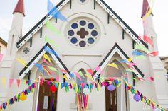 Festive bunting | Tikarifest styled by She Wore Daisy at High Church Brisbane Wedding Bunting, Festival Wedding, Color Splash, Daisy, Hanging Decorations, Brisbane, Cute, Festive, Wedding Ideas