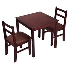3 PCS Pine Wood Dining Set Table And 2 Upholstered Chair Breakfast Furniture