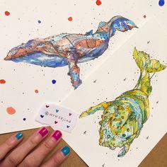 New whales are done!  #art #artfido #artgram #artnerd #artwork #arts_help #artistshouts #artwork_daily #Instagood #instamood #illustration #whale #wallart #wowsujina #watercolor #photooftheday #painting #nawden #moanart #mauveheart #daily #design #drawing #미술 #수채화 #고래 @wowsujina Deviantart Drawings, Whales, Great Artists, Watercolors, Watercolor Tattoo, Illustration Art, Nerd, Character Design, Animal