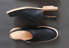 Handmade to order wood stacked heel slip-on mules by Metaformose