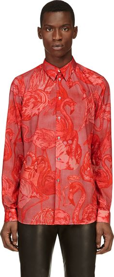 Paul Smith Hot Pink Flamingo Print Button-Up Shirt @ SSENSE $415.00
