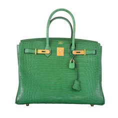 HERMES BIRKIN BAG 35CM ALLIGATOR CACTUS GOLD HARDWARE JaneFinds | From a collection of rare vintage top handle bags at https://www.1stdibs.com/fashion/handbags-purses-bags/top-handle-bags/