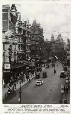 Streetscape showing the Empire Theatre, Daly's Theatre and the Hippodrome, London, 1912