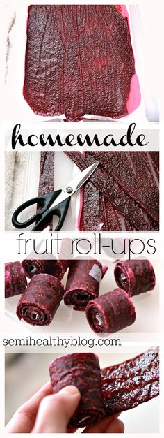 easy DIY homemade fruit roll ups. great as a snack, a semi-healthy treat, or for fueling for a run. via @semihealthnut at semihealthyblog.com