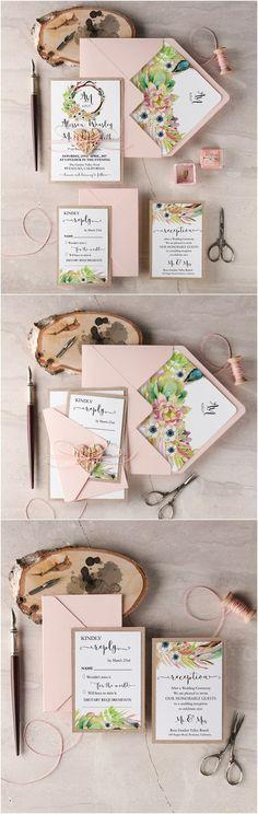 Rustic blush Pink wedding invitations @4LOVEPolkaDots