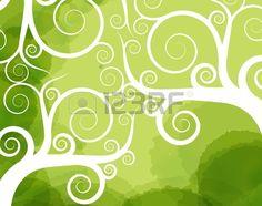 Abstract tree swirl vector background Stock Vector