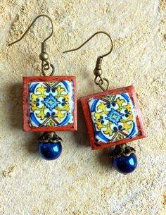 Portugal Azulejo Tile Earrings  Gold Blue Replicas from by Atrio