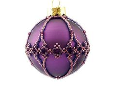 Christmas Ornament, beaded bauble, in Dusty golden and purple colours. Handmade. 6 cm diameter.