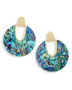 Kendra Scott Kirtsie Gold Stud Earrings In Bronze Veined Turquoise New Dust Bag