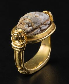 Gold Ring with Scarab from Old Egypt. This and more important jewelry for sale on CuratorsEye.com