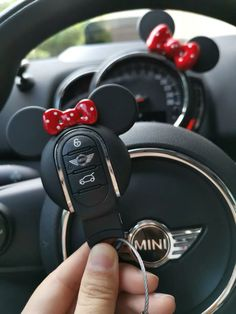 Mini Cooper Mickey Minnie Mouse Inspired Key Fob Cover Case Protector Red Bow More bling your ride car accessories. Other Mini cooper accessories. Mini Cooper Accessories, Preppy Car Accessories, Mini Countryman Accessories, Mickey Minnie Mouse, Accesorios Mini Cooper, Rosa Mini Cooper, Fiat 500, Pink Mini Coopers, Mini Cooper Interior