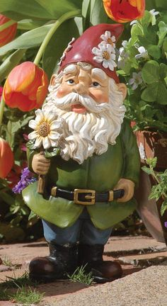 This jolly gnome will add just the right touch of whimsy to your garden or flower bed. Gnome is x Resin/stone mix. Gnome Statues, Garden Statues, Angel Statues, Gnome Garden, Garden Art, Yard Gnomes, Gnome Costume, Elves And Fairies, Gnome House