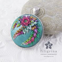 Polymer clay filigree applique technique, handmade jewelry, round pendant, malachite green & fuchsia pink, vintage, wedding jewelry, flowers, floral jewelry, indian paisley  Handmade pendant INDIA with floral motif by Filigrina, €22.99