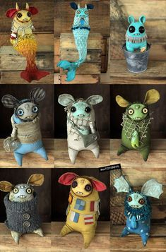 dust bunnies- love the mermaids Ugly Dolls, Creepy Dolls, Cute Dolls, Sculpture Clay, Soft Sculpture, Clay Monsters, Monster Dolls, Weird Creatures, Clay Figures