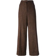 Christian Dior Vintage Wide Leg Trousers (25,000 INR) ❤ liked on Polyvore featuring pants, trousers, bottoms, pantalon, vintage wide leg pants, brown trousers, wool trousers, vintage wool pants and brown wool trousers